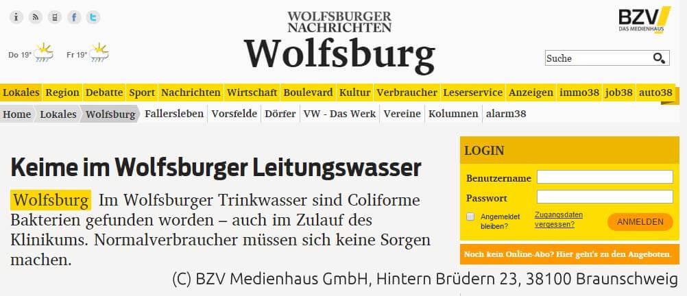 """Keime im Wolfsburger Trinkwasser – """"Normalverbraucher"""" ungefährdet."""